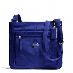 COACH F77408 - GETAWAY SIGNATURE NYLON FILE BAG SILVER/INDIGO