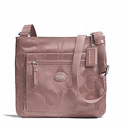 COACH F77408 Getaway Signature Nylon File Bag SILVER/MAUVE