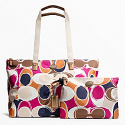 COACH F77419 - GETAWAY HAND DRAWN SCARF PRINT PACKABLE WEEKENDER SILVER/MULTICOLOR