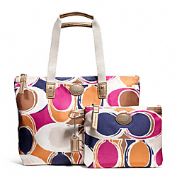 COACH F77439 - GETAWAY HAND DRAWN SCARF PRINT SMALL PACKABLE TOTE ONE-COLOR