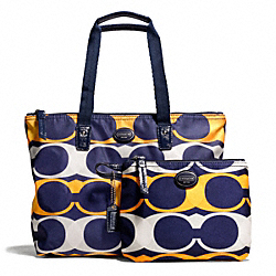COACH F77440 Getaway Linear C Print Small Packable Tote