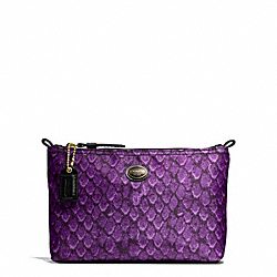 COACH F77444 Getaway Snake Print Mini Cosmetic Pouch BRASS/PURPLE