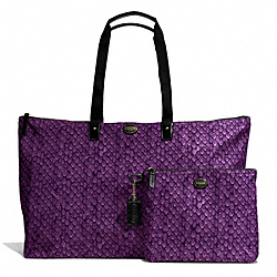 COACH F77445 Getaway Snake Print Large Packable Weekender BRASS/PURPLE