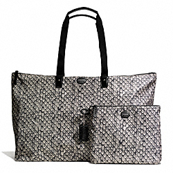 COACH F77445 - GETAWAY SNAKE PRINT LARGE PACKABLE WEEKENDER SILVER/GUNMETAL