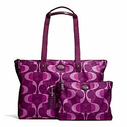 COACH F77452 - GETAWAY DREAM C PACKABLE WEEKENDER SILVER/BERRY MULTICOLOR