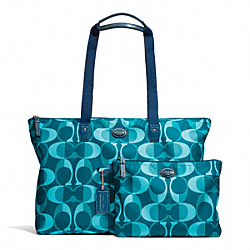 COACH F77452 - GETAWAY DREAM C PACKABLE WEEKENDER SILVER/TEAL MULTI