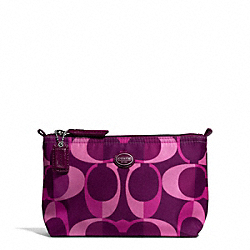 COACH F77453 Getaway Dream C Mini Cosmetic Pouch SILVER/BERRY MULTICOLOR