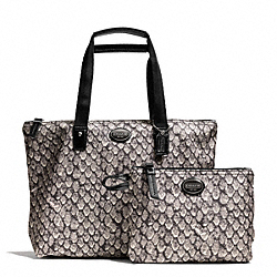 COACH F77455 Getaway Snake Print Small Packable Tote SILVER/GUNMETAL