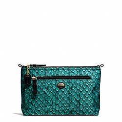COACH GETAWAY SNAKE PRINT COSMETIC POUCH - BRASS/EMERALD - F77462