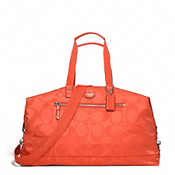 COACH F77469 - GETAWAY NYLON DUFFLE SILVER/HOT ORANGE