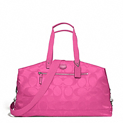 COACH F77469 - GETAWAY SIGNATURE NYLON DUFFLE SILVER/HOT PINK