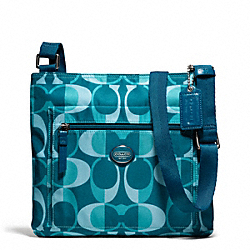 COACH F77472 Getaway Dream C File Bag SILVER/TEAL MULTI