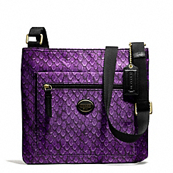 COACH F77481 - GETAWAY SNAKE PRINT FILE BAG BRASS/PURPLE
