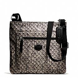 COACH F77481 Getaway Snake Print File Bag SILVER/GUNMETAL