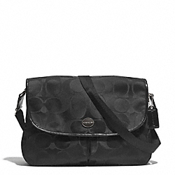 COACH F77490 - SIGNATURE NYLON MESSENGER SILVER/BLACK/BLACK