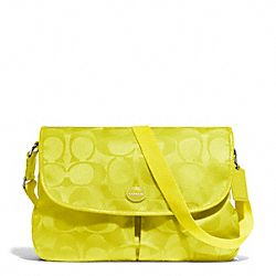 SIGNATURE NYLON MESSENGER - f77490 - SILVER/CITRINE