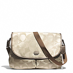 COACH F77490 Signature Nylon Messenger SILVER/LIGHT KHAKI