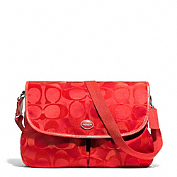COACH F77490 - SIGNATURE NYLON MESSENGER SILVER/VERMILLION
