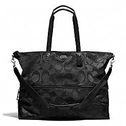 COACH F77497 Signature Nylon Expandable Tote SILVER/BLACK/BLACK