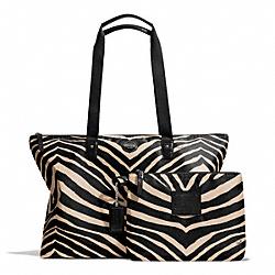 COACH F77526 Getaway Zebra Print Weekender SILVER/BLACK