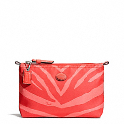 COACH F77536 Getaway Zebra Print Mini Cosmetic Pouch SILVER/HOT ORANGE