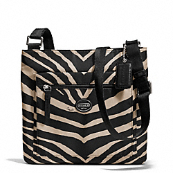 COACH F77541 Getaway Zebra Print File Bag SILVER/BLACK