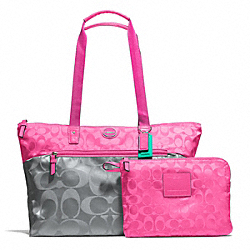 COACH F77560 - SIGNATURE NYLON COLORBLOCK PACKABLE WEEKENDER SILVER/GREY/HOT PINK