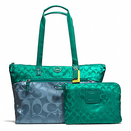 COACH f77560 SIGNATURE NYLON COLORBLOCK PACKABLE WEEKENDER SILVER/BLUE/TEAL