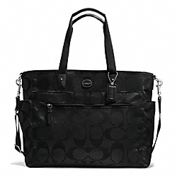 COACH F77577 - SIGNATURE NYLON BABY BAG SILVER/BLACK/BLACK