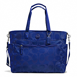 COACH F77577 - SIGNATURE NYLON BABY BAG SILVER/INDIGO