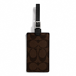 SIGNATURE COATED CANVAS LUGGAGE TAG - f77590 - SILVER/BROWN/BLACK