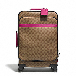 COACH F77611 Signature Coated Canvas 22 Inch Wheel Along With Saffiano Trim SILVER/KHAKI/RASPBERRY