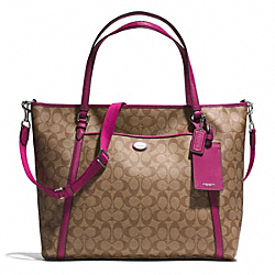 COACH F77612 - PEYTON SIGNATURE XL POCKET TOTE WITH SAFFIANO TRIM SILVER/KHAKI/RASPBERRY