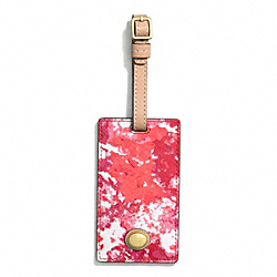 COACH F77613 Peyton Floral Print Luggage Tag BRASS/PINK MULTICOLOR