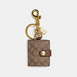 COACH F77675 Picture Frame Bag Charm In Signature Canvas KHAKI/GOLD