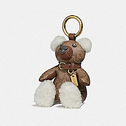 COACH F77676 Bear Bag Charm In Signature Canvas KHAKI/GOLD