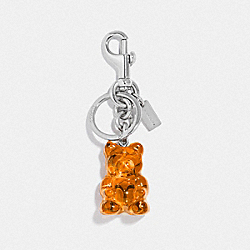 COACH F77683 Vandal Gummy Bag Charm ORANGE/SILVER