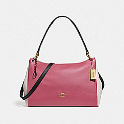MIA SHOULDER BAG IN COLORBLOCK - F77684 - ROUGE MULTI/GOLD