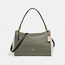 COACH F77684 Mia Shoulder Bag In Colorblock MILITARY GREEN MUTLI/GOLD