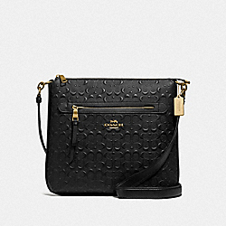 MAE FILE CROSSBODY IN SIGNATURE LEATHER - F77689 - BLACK/GOLD
