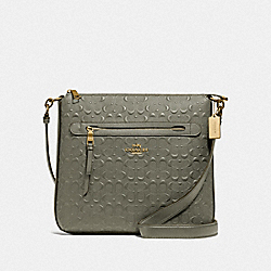 MAE FILE CROSSBODY IN SIGNATURE LEATHER - F77689 - MILITARY GREEN/GOLD