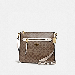MAE FILE CROSSBODY IN SIGNATURE CANVAS - F77693 - KHAKI/CHALK MULTI/GOLD