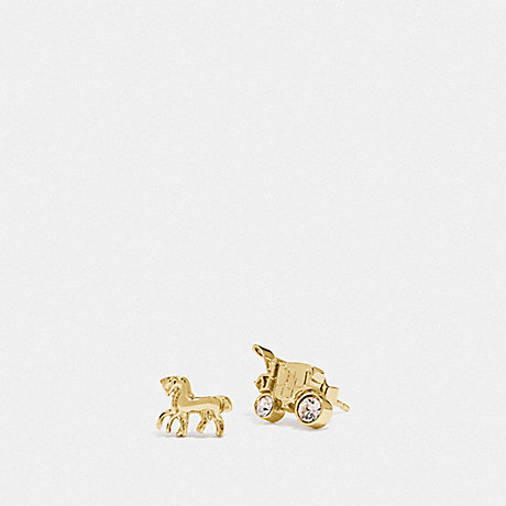 COACH F77695 HORSE AND CARRIAGE STUD EARRINGS GOLD