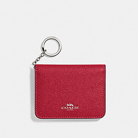 COACH F77696 BIFOLD CARD CASE BRIGHT CARDINAL/SILVER