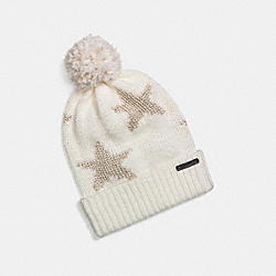 COACH F77717 Sparkle Star Intarsia Hat WHITE/GOLD