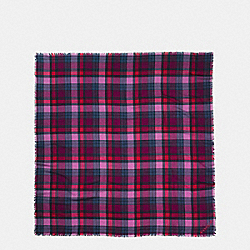 COACH F77768 Plaid Oversized Square HYACINTH/RED/NAVY