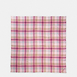 COACH F77768 Plaid Oversized Square BEECHWOOD/STRAWBERRY