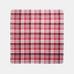 COACH F77768 Plaid Oversized Square POPPY