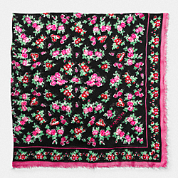 COACH F77801 Floral Woven Oversized Square Scarf BLACK
