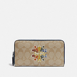 COACH F77844 - ACCORDION ZIP WALLET IN SIGNATURE CANVAS WITH COACH RADIAL RAINBOW LIGHT KHAKI/DENIM MULTI/SILVER